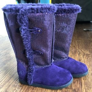 AIRWALK • Purple Sequin Boots w/ the Fur